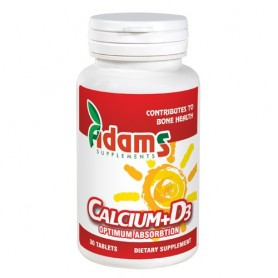 Calciu + Vitamina D3, 30 tablete Adams
