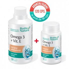Omega 3 + Vitamina E, 90+30 capsule