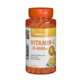 Vitamina C 1000+D 4000Mg + Bioflavonoide, 90 cpr