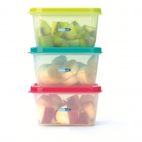 Set 3 recipiente hrana copii Colours and Flavours BebeduE 80210 Rosu/Albastru/Verde