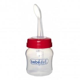 Biberon din silicon 120 ml cu lingurita BebeduE 80168 Rosu