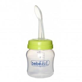 Biberon din silicon 120 ml cu lingurita BebeduE 80168 Verde