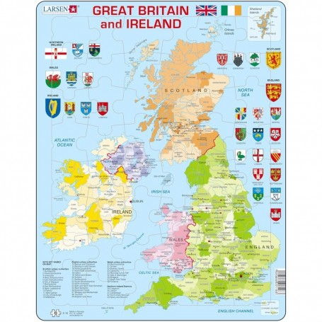 Puzzle Harta Politica a Marii Britanii si a Irlandei (EN), 48 piese Larsen LRK18 Initiala