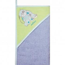 Prosop de baie cu gluga imprimeu velur 100 x 100 cm Womar Zaffiro AN-OW-01-10 Albastru/Verde