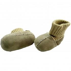 Botosei din piele si blanita de miel cu mansete tricotate - Marime 16 Altabebe MT4031L-01 Gri
