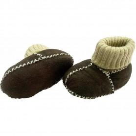 Botosei din piele si blanita de miel cu mansete tricotate - Marime 16 Altabebe MT4031L-01 Maro Inchis