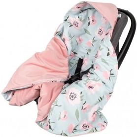 Paturica de infasat pentru scaun auto Velvet Infantilo IF19109 Pink Flower/Roz