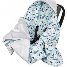 Paturica de infasat pentru scaun auto Velvet Infantilo IF19109 Blue Rabbit/Gri