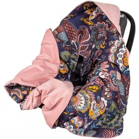 Paturica de infasat pentru scaun auto Velvet Infantilo IF19109 Boho Mov/Roz