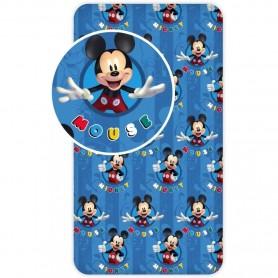 Cearsaf de pat cu elastic Mickey Blue 90x200 cm SunCity BRM005389 Albastru