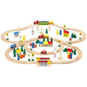 Circuit Trenulet din Lemn 100 piese Iso Trade MY17467 Initiala