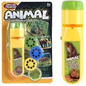 Lanterna proiector cu 3 diapozitive Animale Bambinice BN014 Initiala