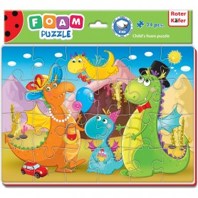 Puzzle Funny Dino 24 piese Roter Kafer RK1201-09 Initiala
