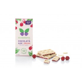 Ciocolata Alba cu Zmeura, 100g Sweeteria