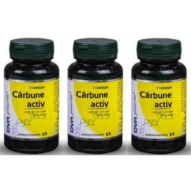 Pachet 3X Carbune Activ 60 capsule DVR Pharm