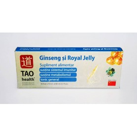 Ginseng si Royal Jelly - Solutie Orala - Supliment Alimentar - Cutie 10 fiole x 10 ml -TAO Health