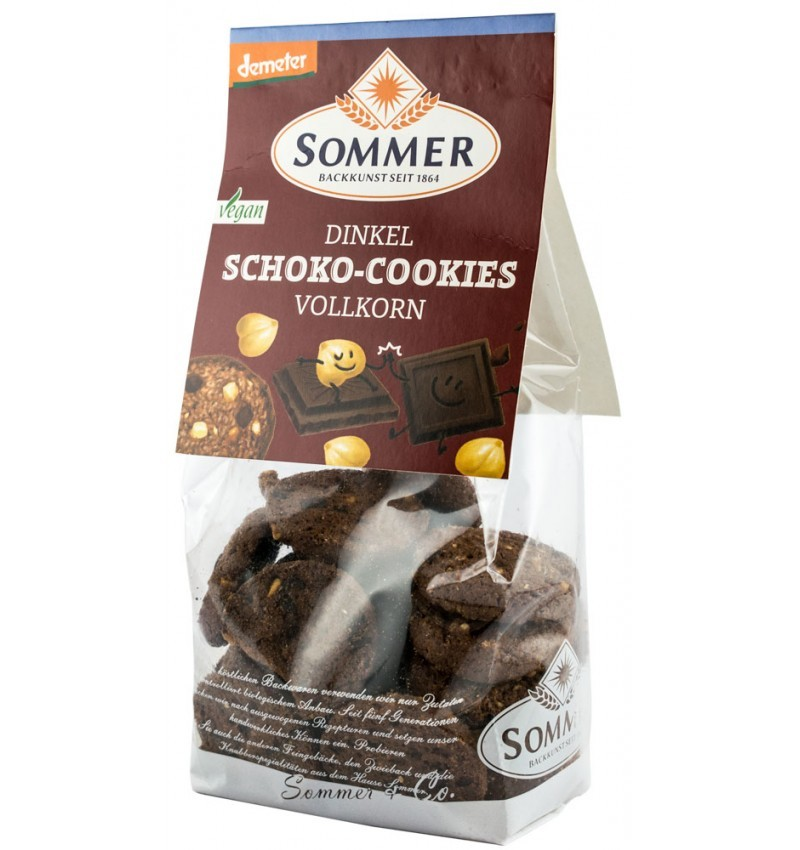 Biscuiti Bio din Faina de Grau Spelta cu Ciocolata Amaruie si Alune Sommer -150 g